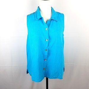Flax Blue Linen Sleeveless Button Down Blouse Sz S